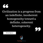 Civilization is a progress from an indefinite, incoherent homogeneity toward a definite, coherent heterogeneity. - Herbert Spencer